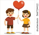 cute couple  a boy holds a red... | Shutterstock .eps vector #566724412