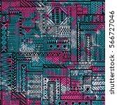 seamless patchwork pattern.... | Shutterstock .eps vector #566727046