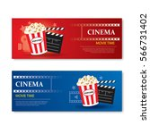 movie time banner and coupon... | Shutterstock .eps vector #566731402