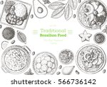 brazilian cuisine top view... | Shutterstock .eps vector #566736142