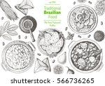 brazilian cuisine top view... | Shutterstock .eps vector #566736265