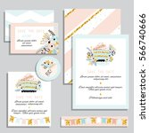 vintage wedding invitation set... | Shutterstock .eps vector #566740666
