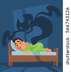 frightened man character woke... | Shutterstock .eps vector #566743126
