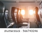 empty seats and window inside... | Shutterstock . vector #566743246
