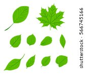 leaves icon vector set isolated ... | Shutterstock .eps vector #566745166