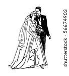 bride and groom   retro clip art | Shutterstock .eps vector #56674903
