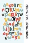 vector funny comics font. hand... | Shutterstock .eps vector #566750482