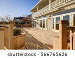 sunny spacious walkout deck of... | Shutterstock . vector #566765626