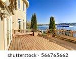 sunny spacious walkout deck of... | Shutterstock . vector #566765662