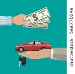 hand gives car and keys to... | Shutterstock .eps vector #566770246