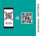 mobile phone scanning qr code... | Shutterstock .eps vector #566770816