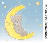 cute bear who sleep on the moon. | Shutterstock .eps vector #566785912