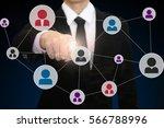 businessman pressing social...   Shutterstock . vector #566788996