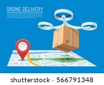 drone delivery concept vector... | Shutterstock .eps vector #566791348