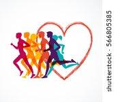 running marathon  people run ... | Shutterstock .eps vector #566805385