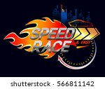 speed race logo on fire... | Shutterstock .eps vector #566811142