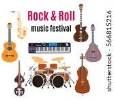 vector set of rock and roll... | Shutterstock .eps vector #566815216