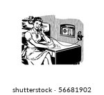 work from home   retro clip art | Shutterstock .eps vector #56681902