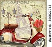 Stock vector paris vintage poster 566821765