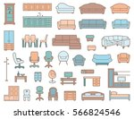 furniture seamless pattern in... | Shutterstock .eps vector #566824546