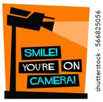 smile you're on camera  flat... | Shutterstock .eps vector #566825056