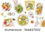 festive vegetarian tableful ... | Shutterstock .eps vector #566837032
