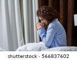 beautiful woman drinking a... | Shutterstock . vector #566837602