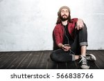 image of cheerful young bearded ... | Shutterstock . vector #566838766