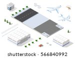 isometric set 3d airstrip of... | Shutterstock .eps vector #566840992