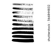 set of black paint  ink brush... | Shutterstock .eps vector #566844832
