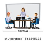 business people having board... | Shutterstock .eps vector #566845138