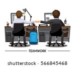 fist bump colleagues... | Shutterstock .eps vector #566845468