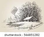 cabin in the woods near river... | Shutterstock .eps vector #566851282
