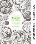brazilian cuisine top view... | Shutterstock .eps vector #566864122