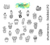 hand drawn succulent plants... | Shutterstock .eps vector #566866192