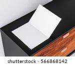 opened white leaflet mockup ... | Shutterstock . vector #566868142