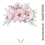 card  watercolor wedding... | Shutterstock . vector #566870056