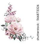 watercolor flowers. floral... | Shutterstock . vector #566873326