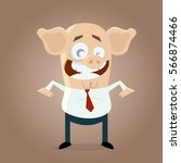 funny businessman with pig's... | Shutterstock .eps vector #566874466