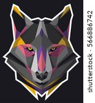 wolf icon. abstract triangular... | Shutterstock .eps vector #566886742