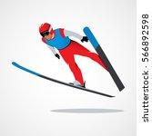 jumping skier sport | Shutterstock .eps vector #566892598