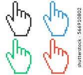 pixel hand icon   colored... | Shutterstock .eps vector #566910802