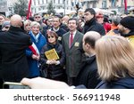 Small photo of MILAN, JANUARY 28, 2017: The mayor of Milan, Giuseppe Sala, Minister of justice, Andrea Orlando and Ornella Coen during the human chain organized in the Day of Memory of the Shoah.