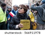 Small photo of MILAN, JANUARY 28, 2017: Ornella Coen, attends the human chain organized in the Day of Memory of the Shoah.