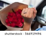 close up of woman hand with... | Shutterstock . vector #566919496