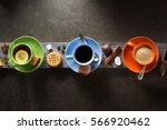 cup of coffee  cacao and tea on ... | Shutterstock . vector #566920462