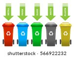 colorful recycle trash bins... | Shutterstock .eps vector #566922232
