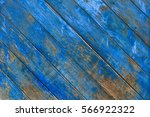Rustic Old Blue Wooden Wall...