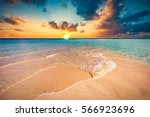 tropical beach with white sand... | Shutterstock . vector #566923696