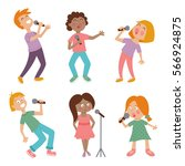 vector set of cute singing... | Shutterstock .eps vector #566924875